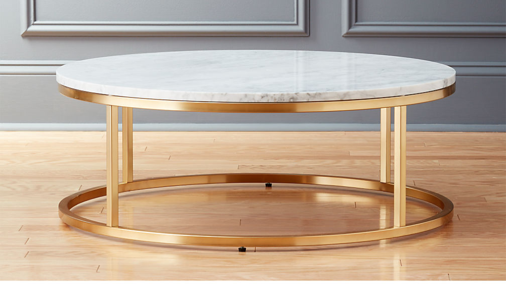 Smart Round Marble Brass Coffee Table Reviews Marble Top