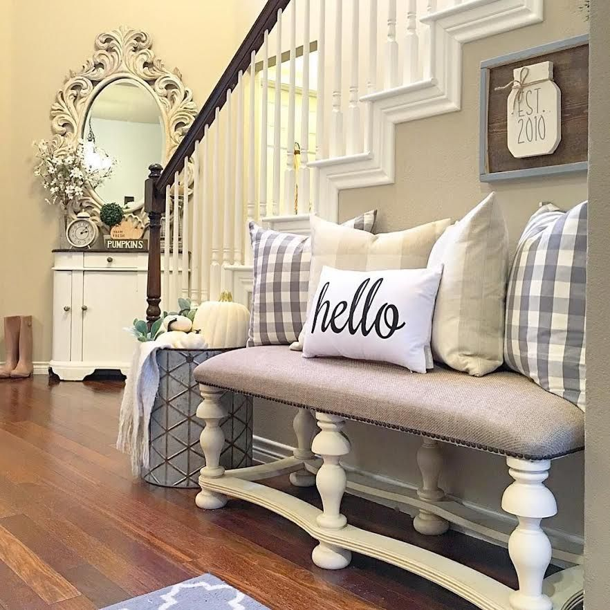 80 Awesome Modern Farmhouse Staircase Decor Ideas: Blesssed Sign, Choose Happy, Farmhouse, Storage, Rustic