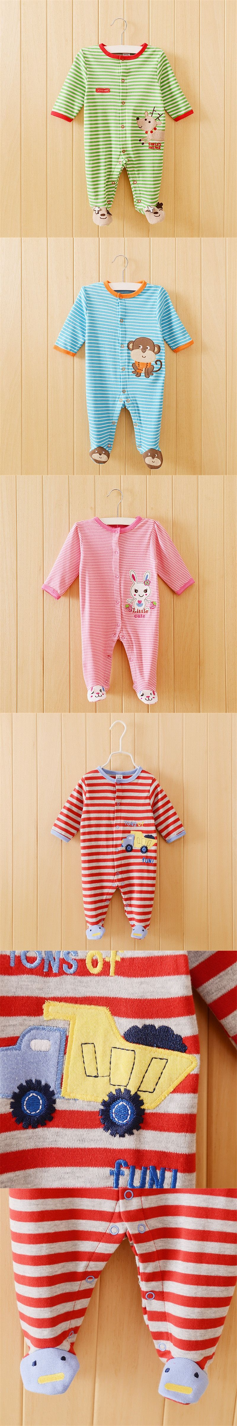 Free shipping baby clothing cartes footed rompers cotton baby