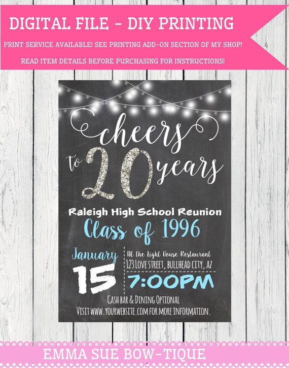 any year class reunion personalized chalkboard invitation diy