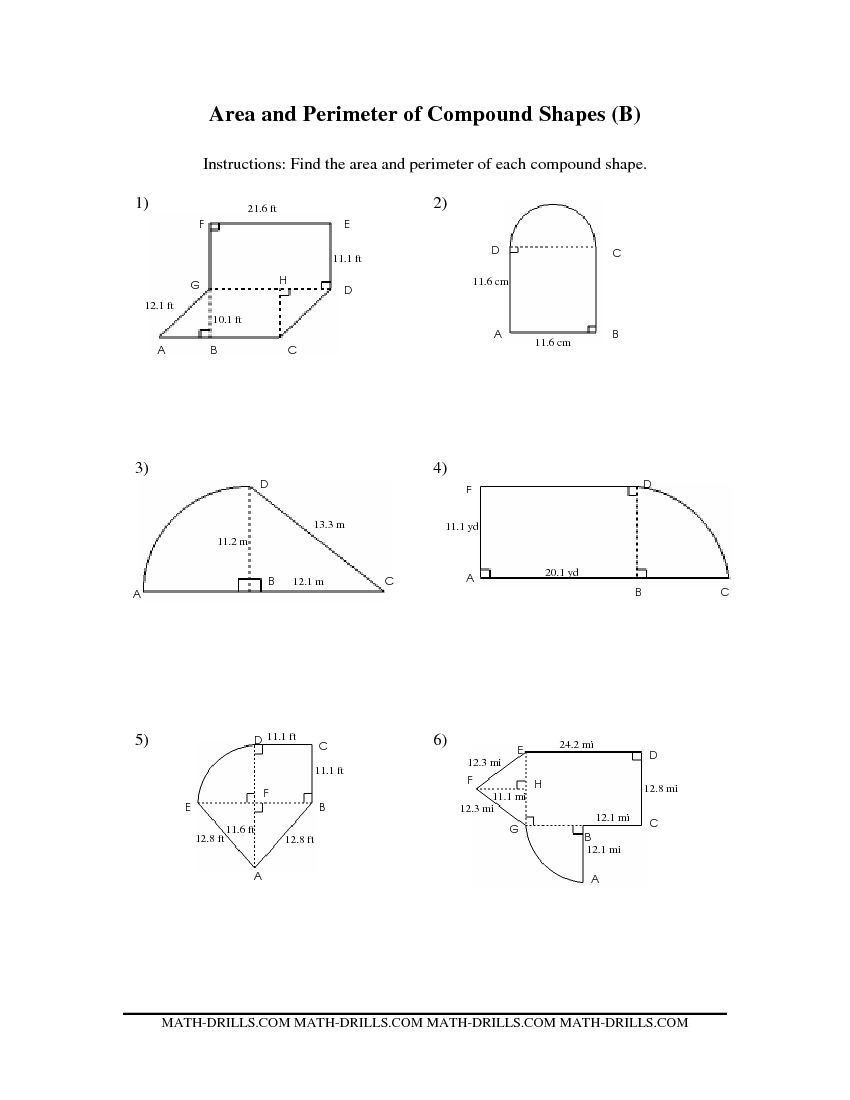 Area and Perimeter of Compound Shapes (BB) Measurement Worksheet   Area  worksheets [ 1100 x 850 Pixel ]