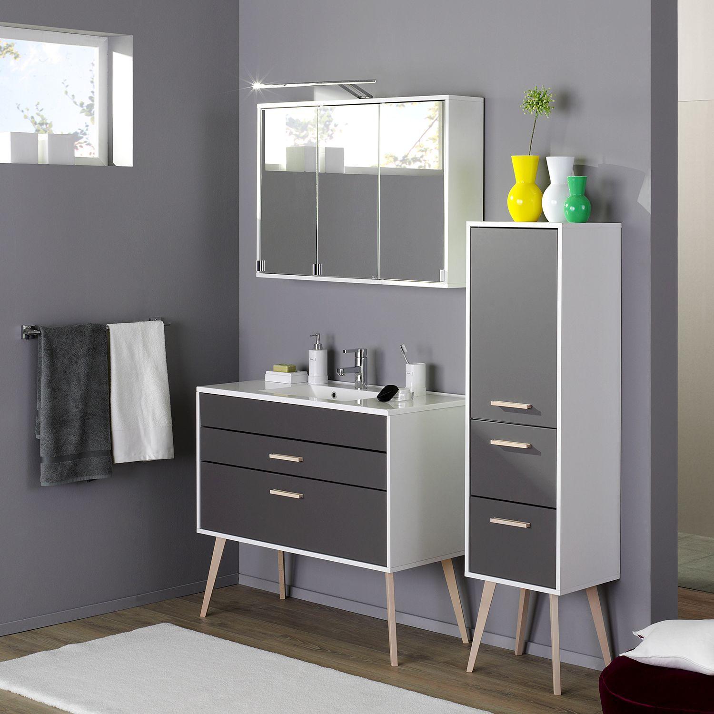 Fresh Badezimmer Set mit Bluetooth Spiegelschrank Hochglanz Eiche Grau teilig Jetzt bestellen unter