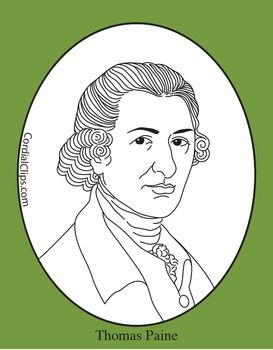 Thomas Paine Clip Art Coloring Page Or Mini Poster Coloring