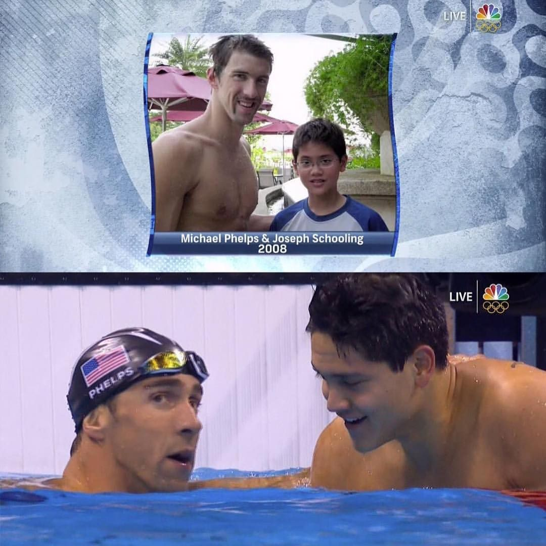 Then And Now Michael Phelps And Joseph Schooling In