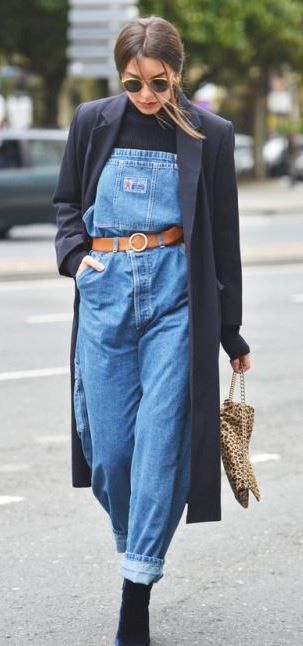1c00d194f8d street style obsession   coat + denim jumpsuit + boots + top + bag ...