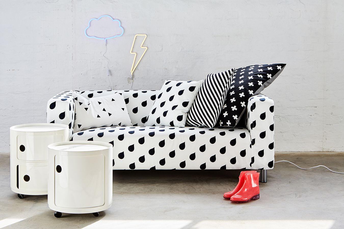 Ikea Klippan Cover Water Drops Cushions On Sofa Black White