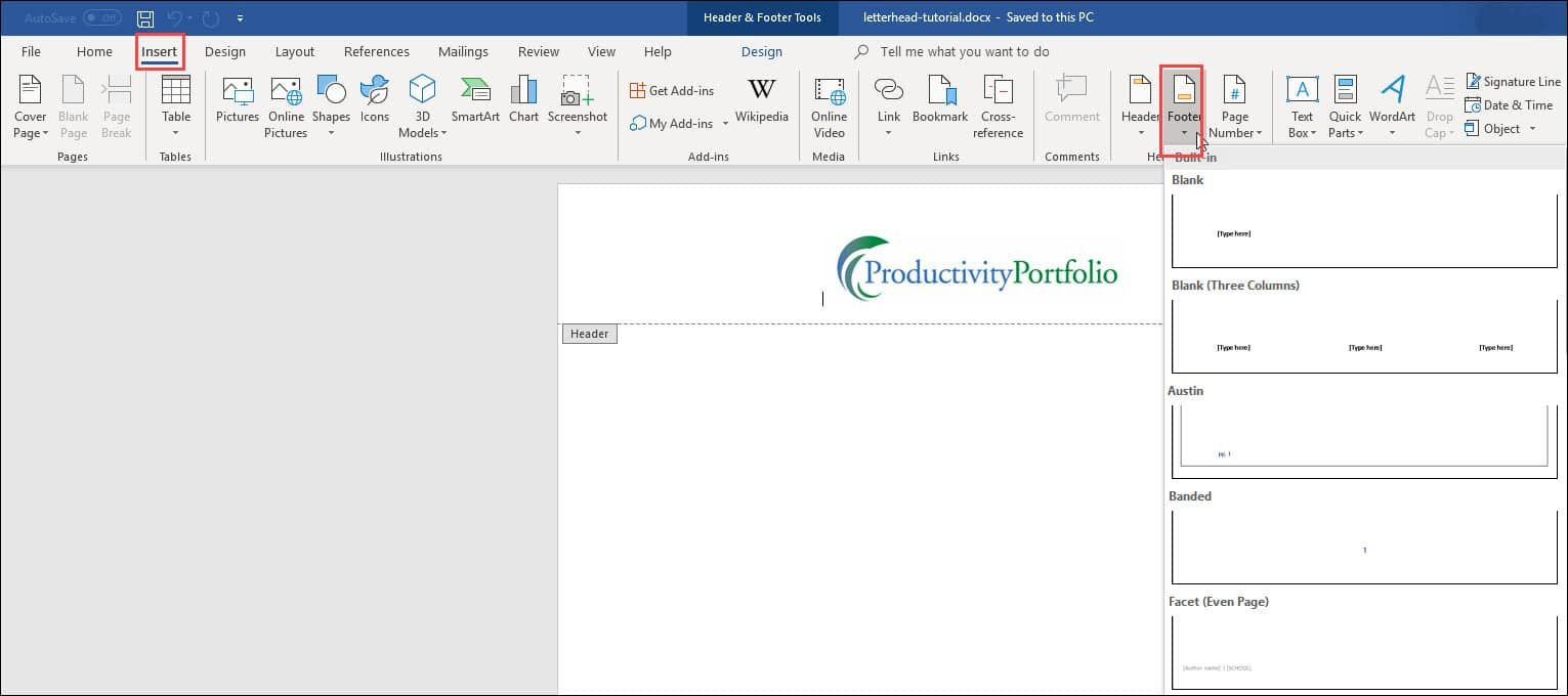 Create A Word Letterhead Template Productivity Portfolio In Header Templates For Word Cumed Org Letterhead Template Business Template Create Letterhead