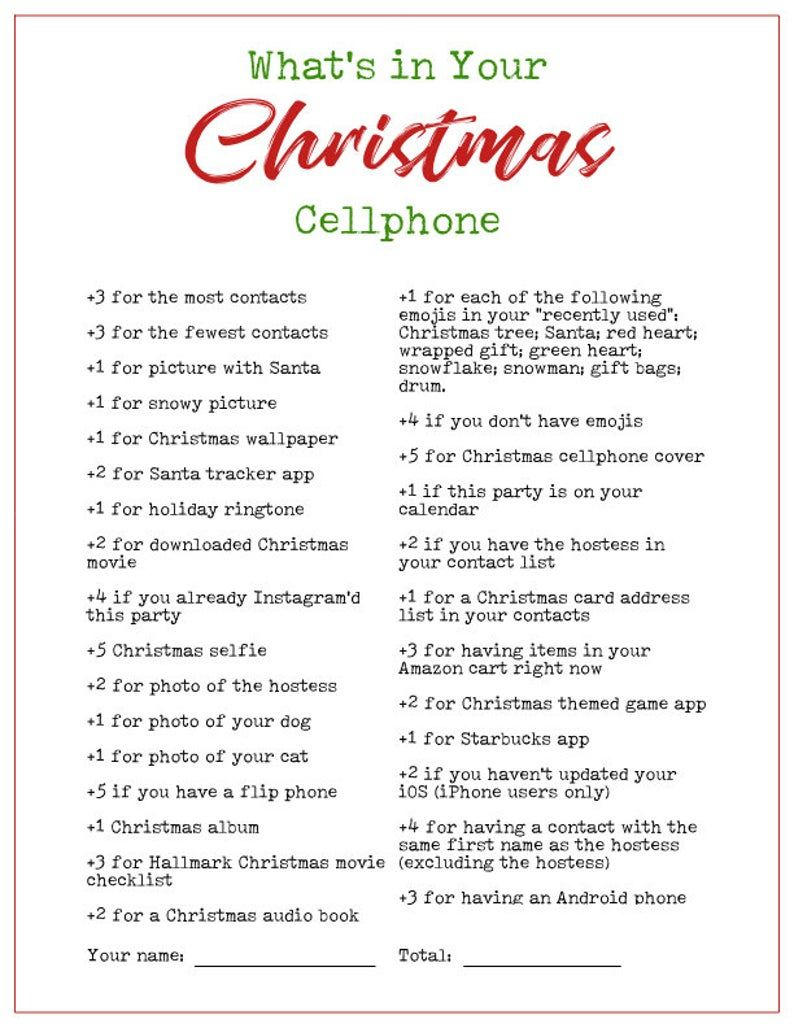 Whats In Your Phone Printable Christmas Holiday Party Game | Etsy