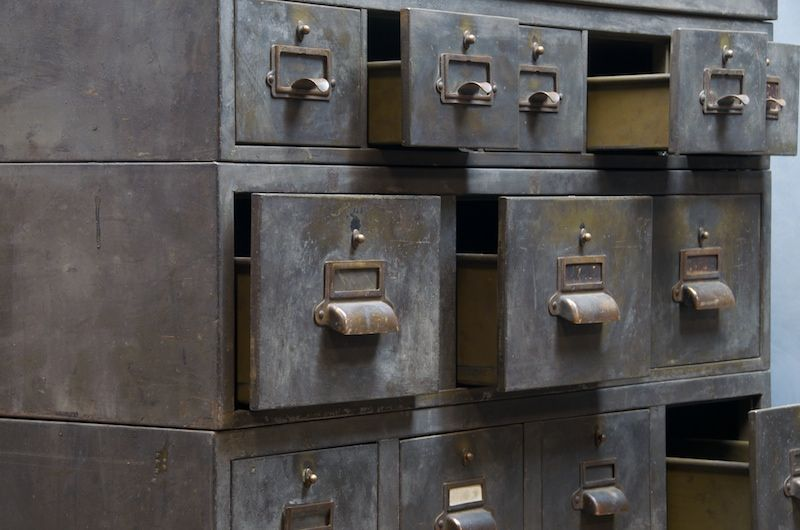 Heavy Patinau0027d Steel Mutli Drawer Cabinet · Industrial TableIndustrial Metal Vintage ...