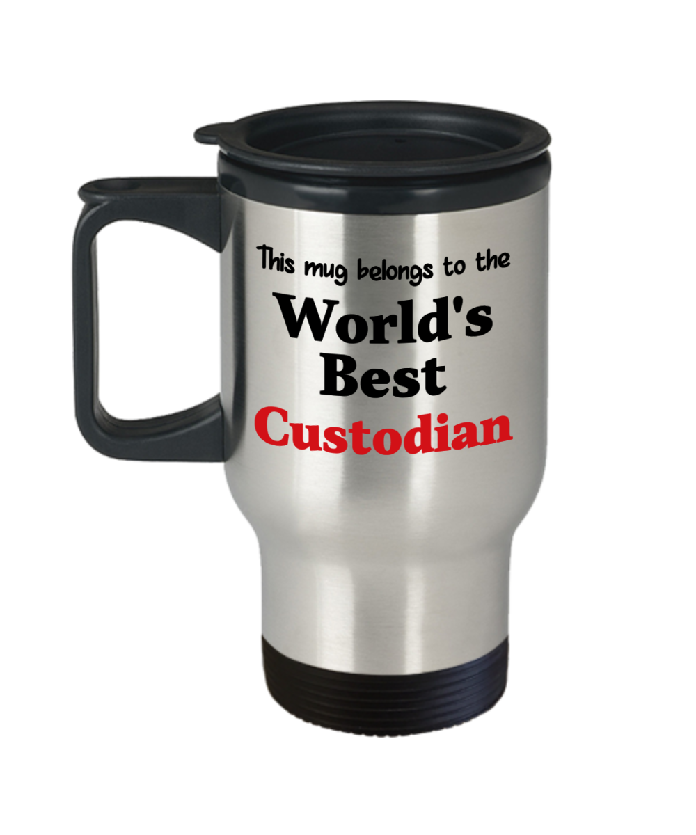 World's Best Custodian Occupational Insulated Travel Mug With Lid Gift Novelty Birthday Thank You Appreciation Coffee Cup #custodianappreciationgifts