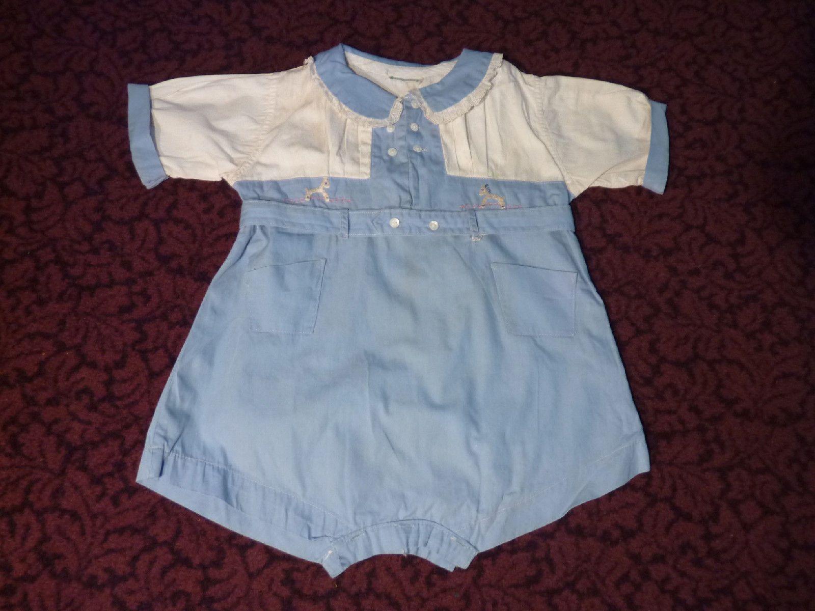 Vintage 1920 s 30 s Little Baby Boys Embroidered Blue Romper Suit