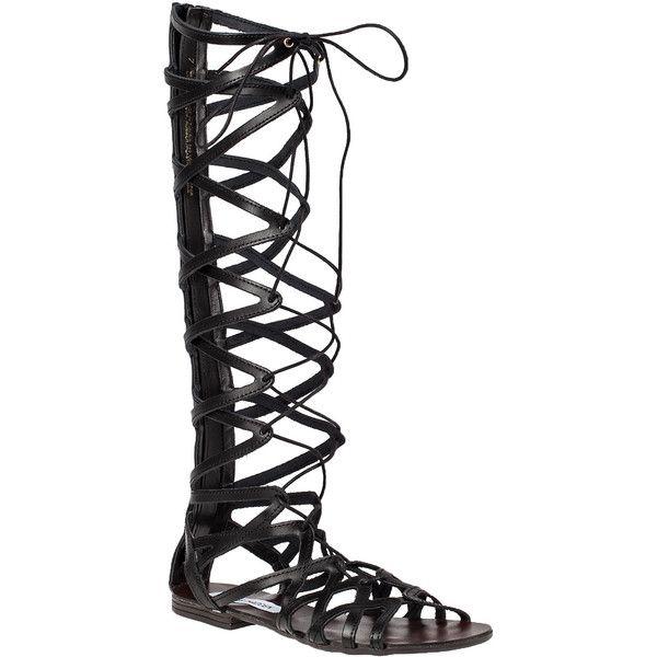 908d8d1aee6 STEVE MADDEN Hercules Black Gladiator Sandal ($89) ❤ liked on ...