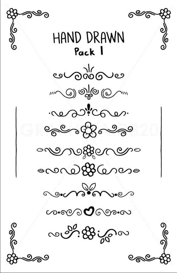 11 Hand Drawn Doodle Text Divider Clip Art - Pack