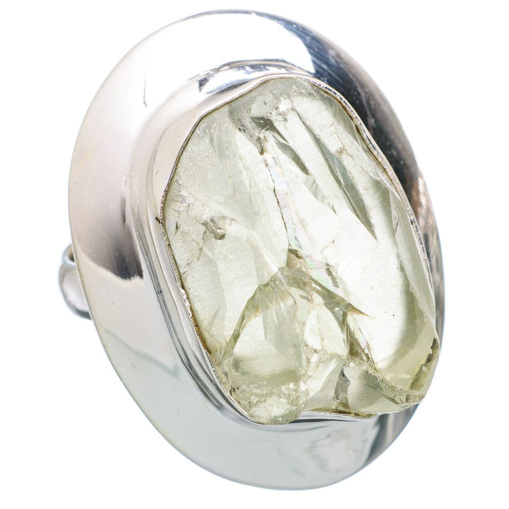 Large Rough Green Amethyst 925 Sterling Silver Ring Size 8 RING720006