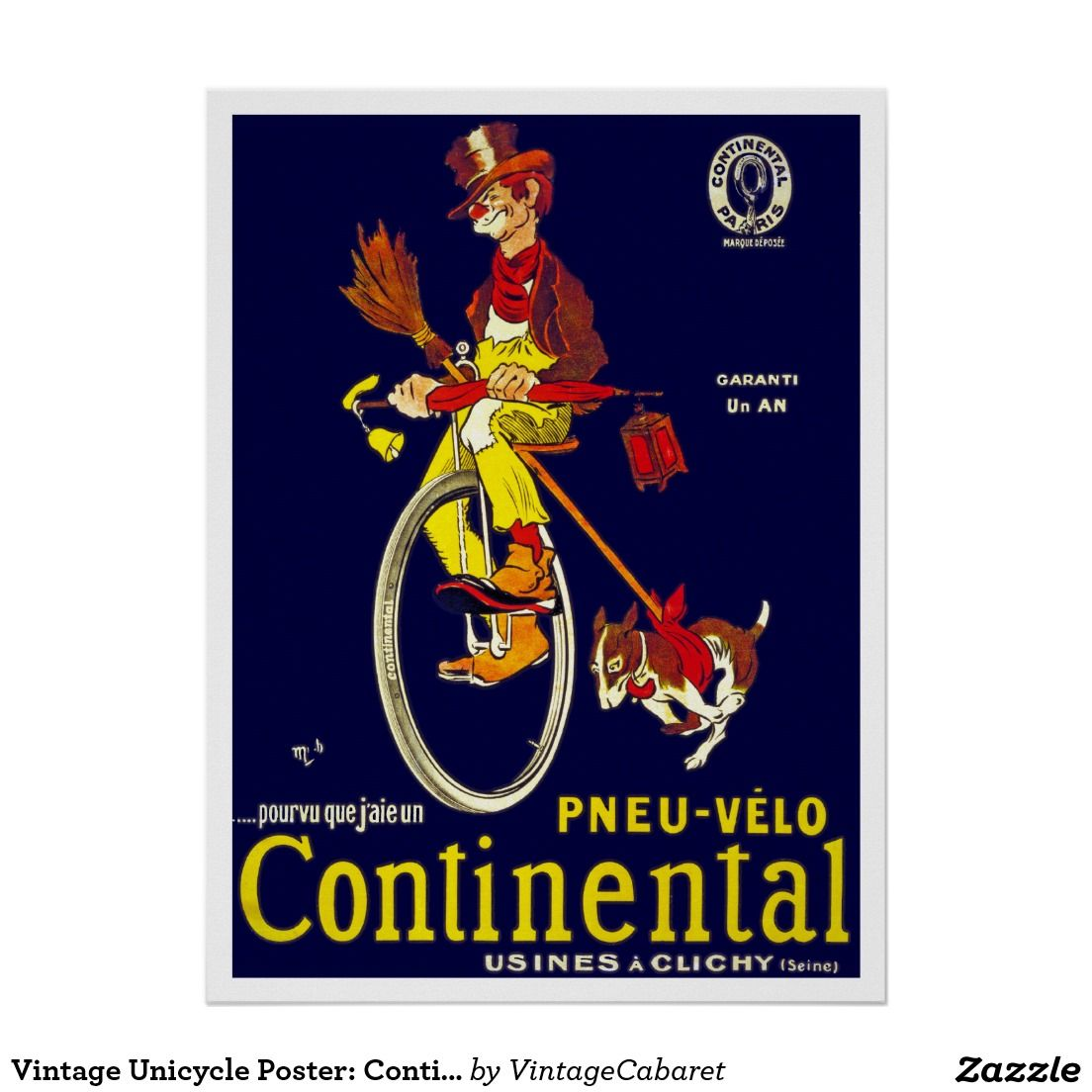 Vintage unicycle poster continental tires poster unicycle and tired tired buycottarizona Image collections
