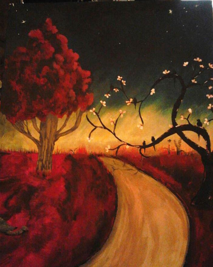 16x20  Painting ( The Road Home) OOAK