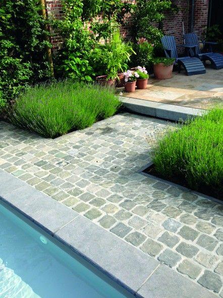 Impermo goedkope tegels natuursteen blauwe steen gezoet bloktrede terras aanleg terras - Zwembad terras outs ...