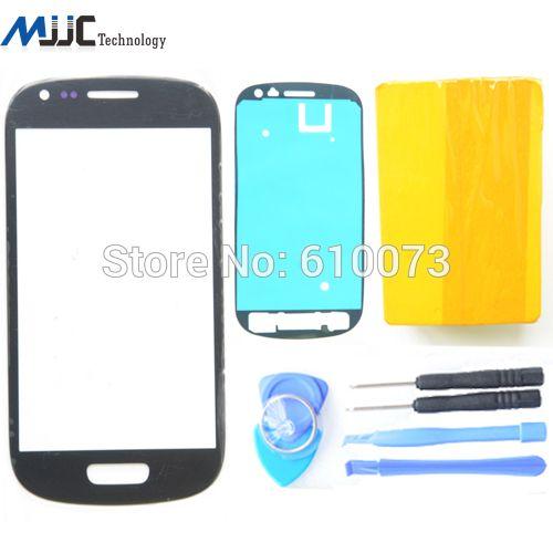 Zwart glas s3 Mini I8190 front glas Voor Samsung Galaxy S3 mini voor outer glas Blauw Wit Rood touchscreen + gereedschap + sticker