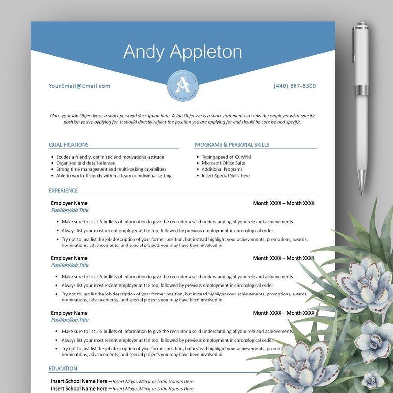 Clean Modern Professional Monogram Cv Resume Template For