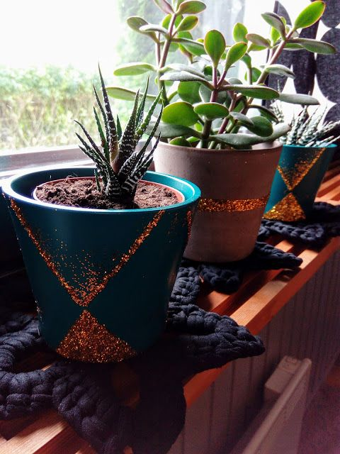 M'made Diy: Glittering Flower pots Diy