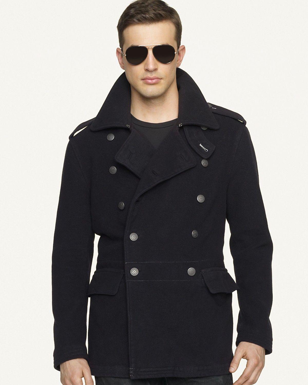 aac3292da391ff Ralph Lauren Black Label DENIM Double-Breasted Wool Officer s Coat ...