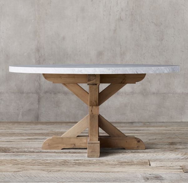 Salvaged Wood Marble X Base Round Dining Table Dining Table