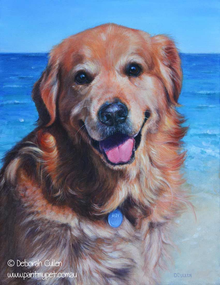 Dog Portrait Max Golden Retriever Acrylic On Canvas 35 56cm X 45 72cm 14 X 18 Private Commission Na Dogs Golden Retriever Golden Retriever Dog Portraits