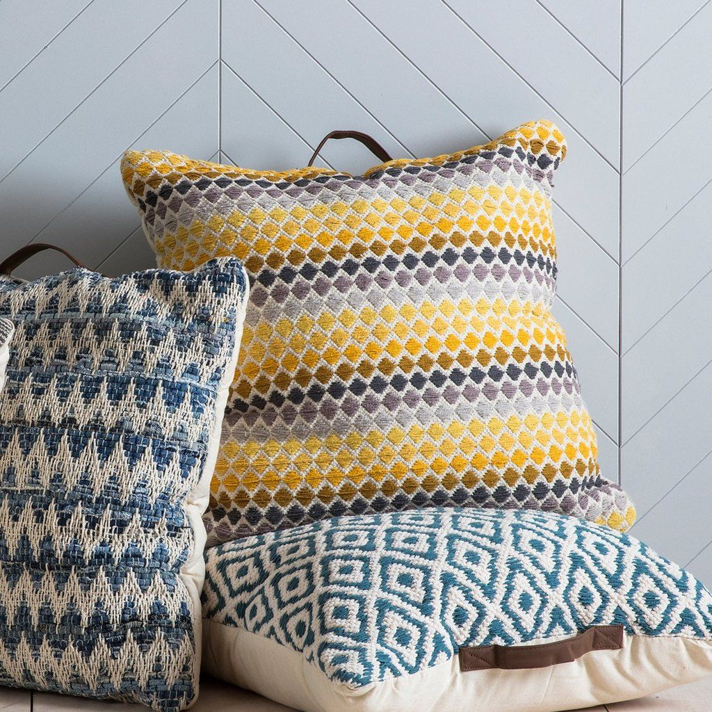 Gallery Direct Malmo Floor Cushion With Handle In Yellow Grey Floor Cushions Yellow Cushions Cushions