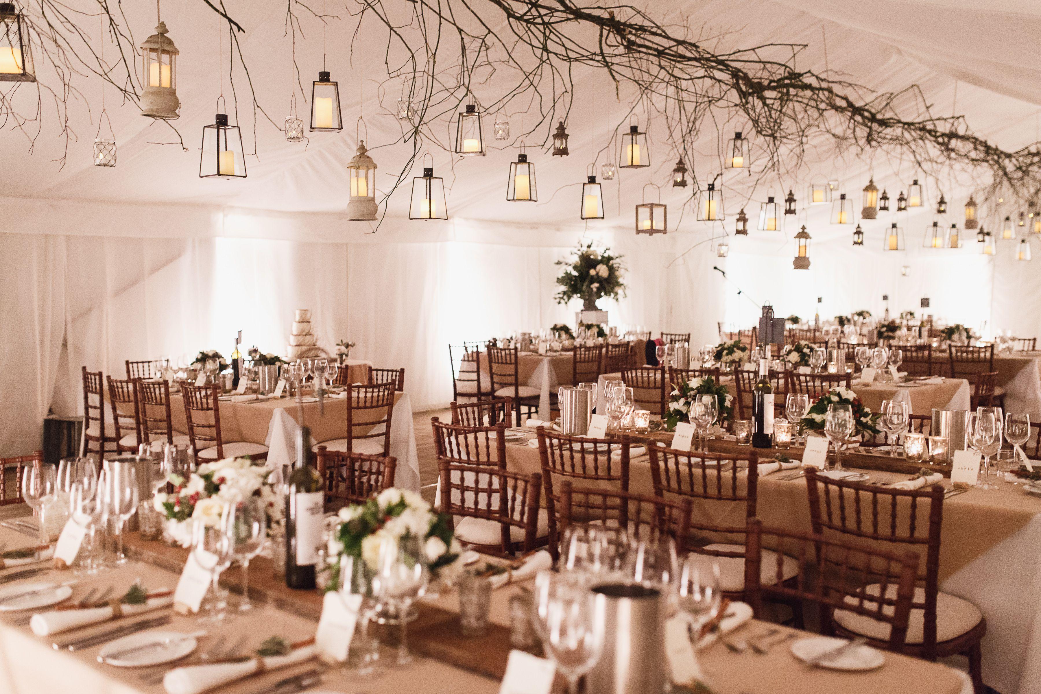 Winter Wedding Marquee Twigs Lanterns Wooden Planks