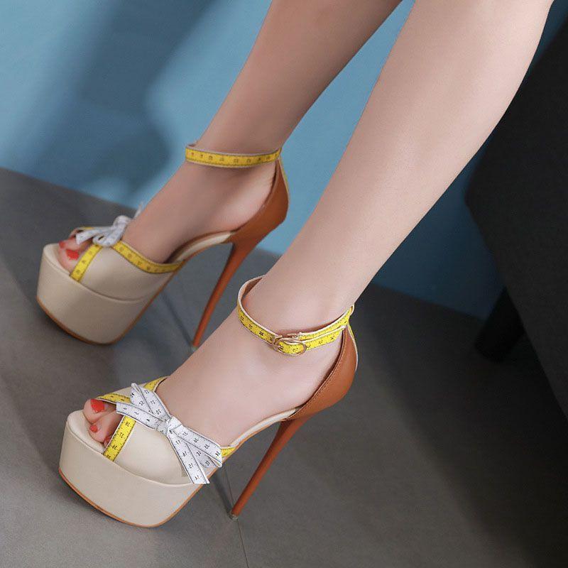Lace-Up Open Toe Stiletto Heel Sandals - Tbdress.com