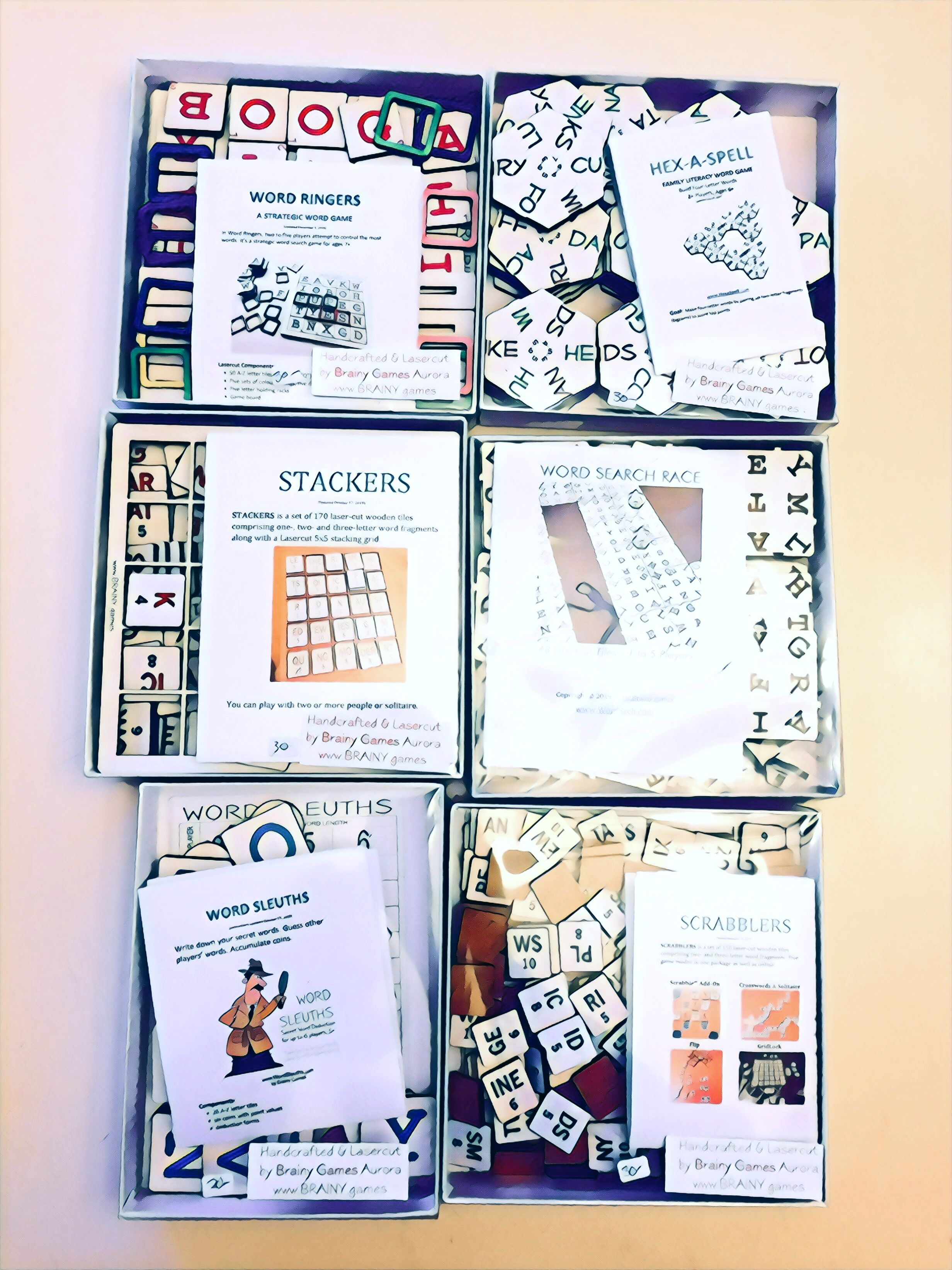 Large Collection of Lasercut Word Games by Brainy Games