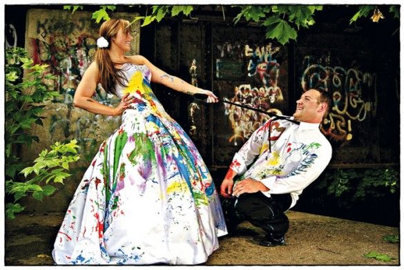 Trash The Dress Photo Shoot With Paint One Day When My Daddy