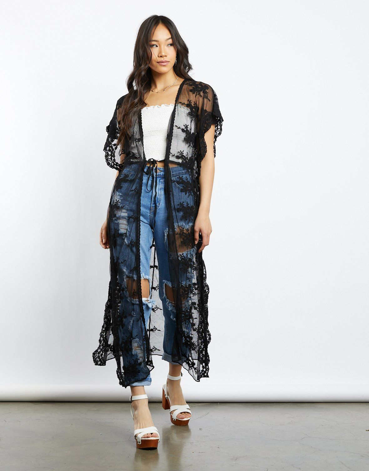 a62134d2a962a Darcy Long Lace Kimono in 2019 | Summer Outfits | Lace kimono, Lace ...
