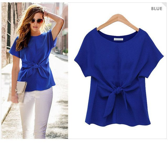 Chiffon Blouse Short Sleeve Bow Lacing White Blue Red Blouses ...