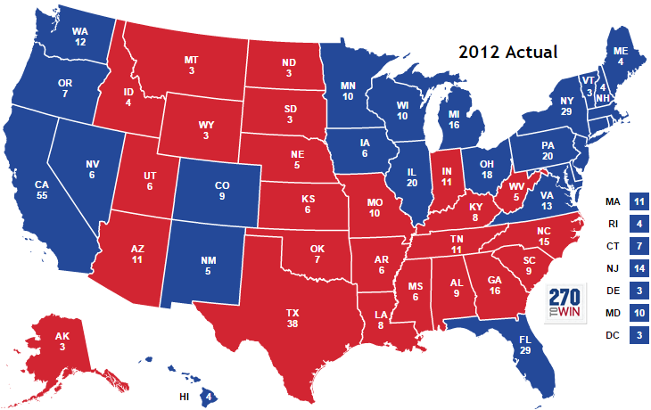 US Election Vocabulary Electoral College Battleground States - Us states election map