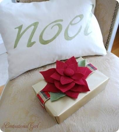 Felt Poinsettia Tutorial- Great to clip onto a package