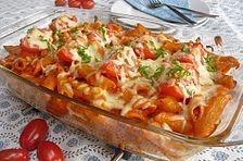 Cremiger Nudelauflauf mit Tomaten und Mozzarella #vegetariandish