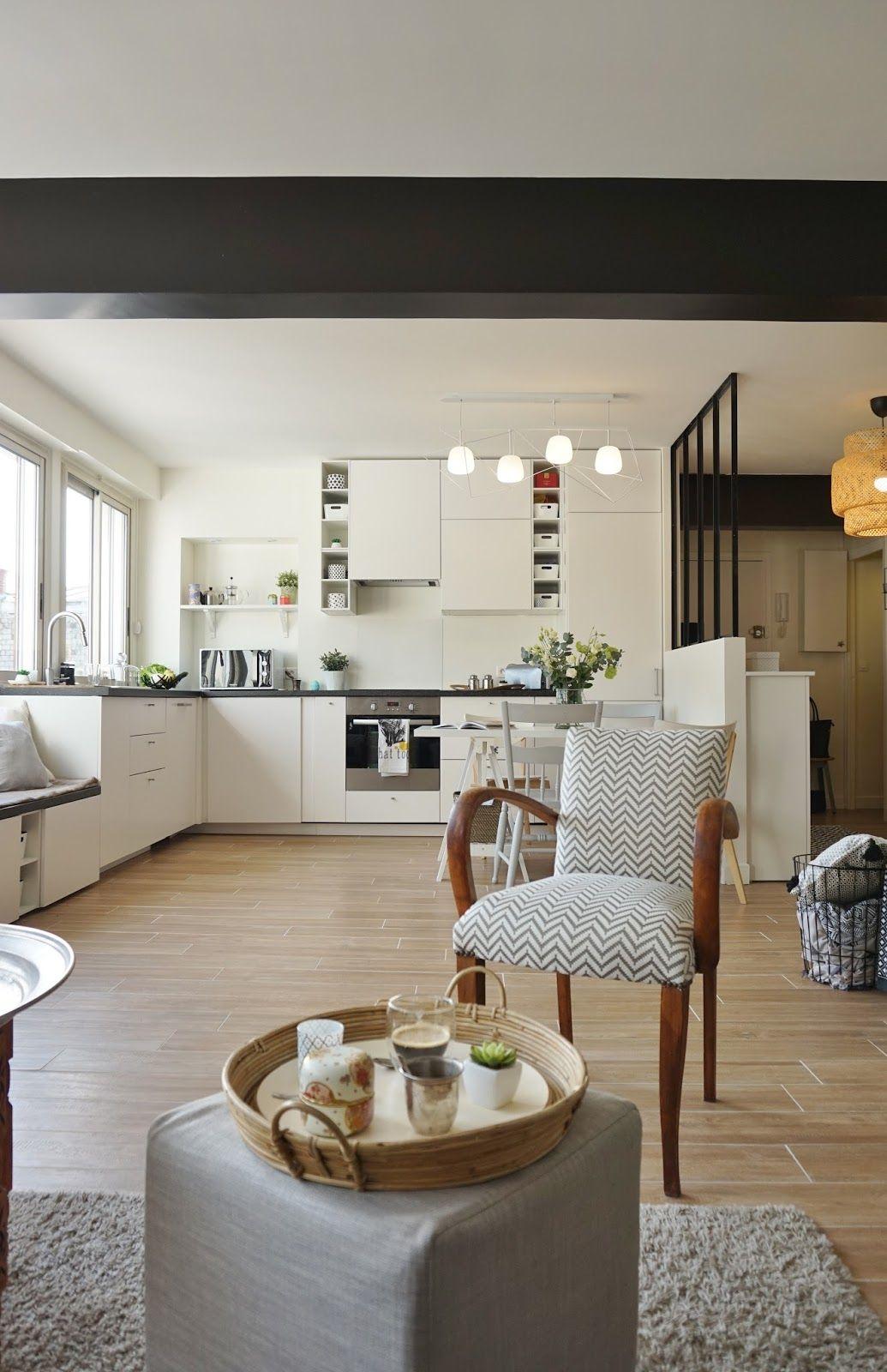 salon chic chaleureux gris motif lumineux assise cuisine ouverte blanc verriere parquet g jpg. Black Bedroom Furniture Sets. Home Design Ideas