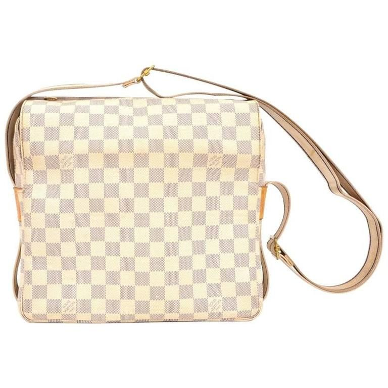 df25d7ee2b49 Louis Vuitton Naviglio White Damier Azur Canvas Messenger Bag ...