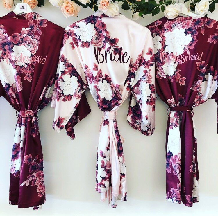 BLOSSOM personalised wedding robes satin floral bridesmaid | Etsy