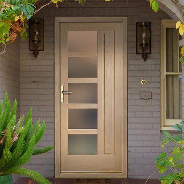 Lucca Oak Exterior Door With Obscure Double Glazing