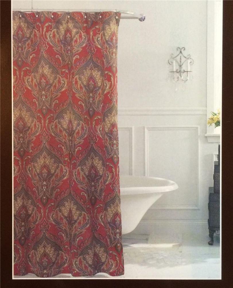 Raymond Waites PRESTON Rich Dark Red Paisley Floral Fabric Shower Curtain NEW