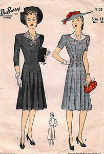 1940's VTG Du Barry Misses' Dress Pattern 5152 Size 18 UNCUT
