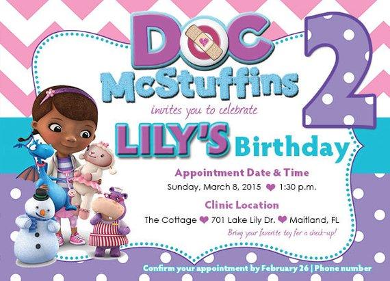 Customized Doc Mcstuffins Birthday Invitation Front And Back Etsy Doc Mcstuffins Birthday Party Invite Template Birthday Invitation Templates