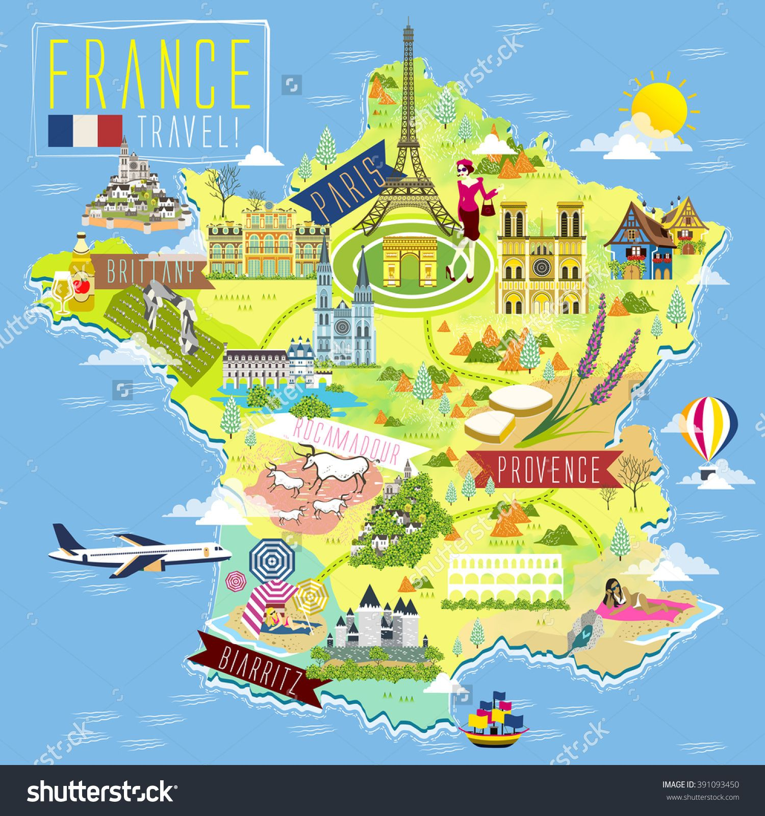 Lovely France Travel Map With Attraction Symbols Stock