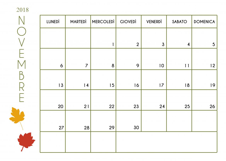 Calendario Mese Novembre 2018