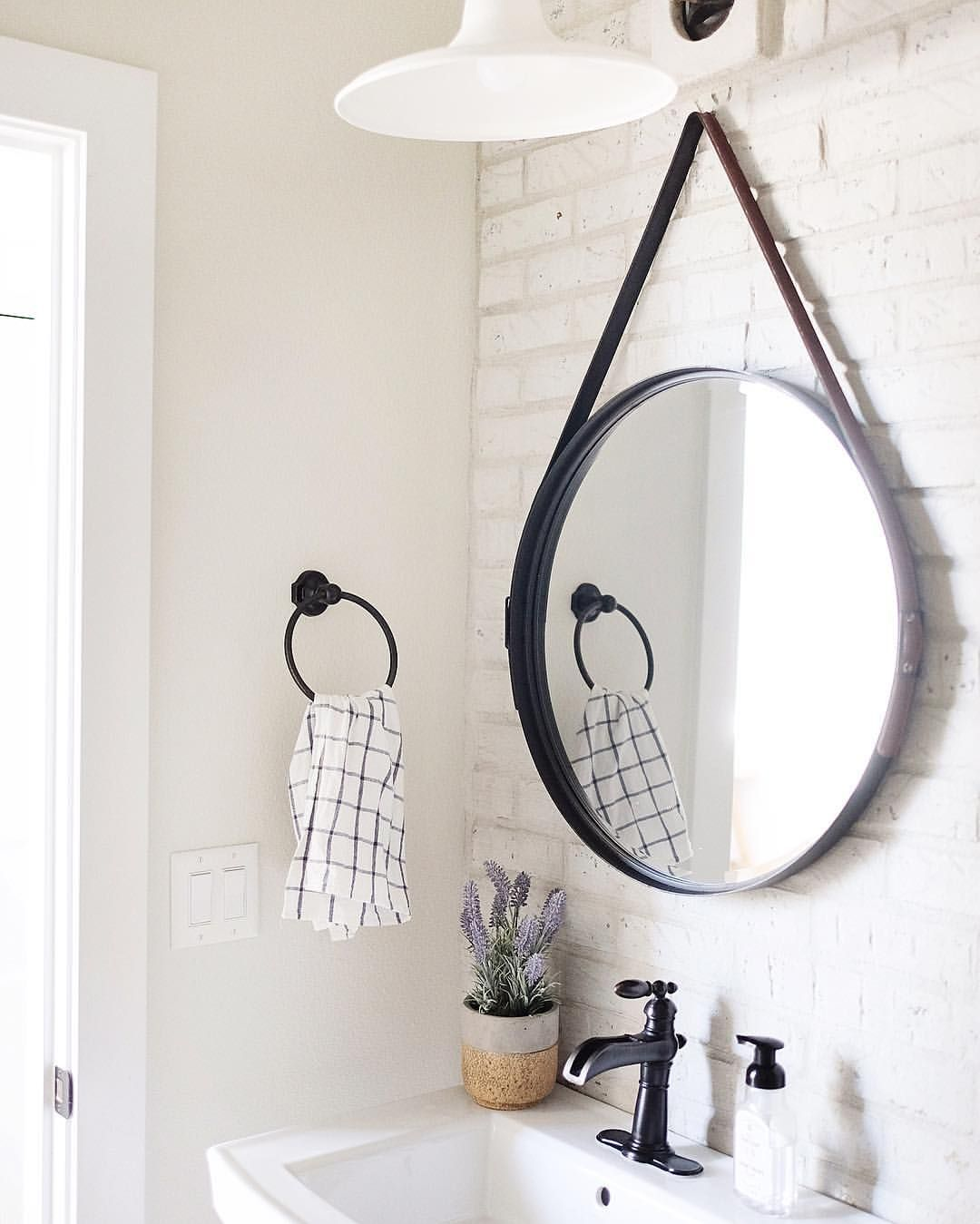 See This Instagram Photo By Nc Homedesign 203 Likes Farmhouse Bathroom Mirrors Round Mirror Bathroom Bathroom Mirror [ 1349 x 1080 Pixel ]