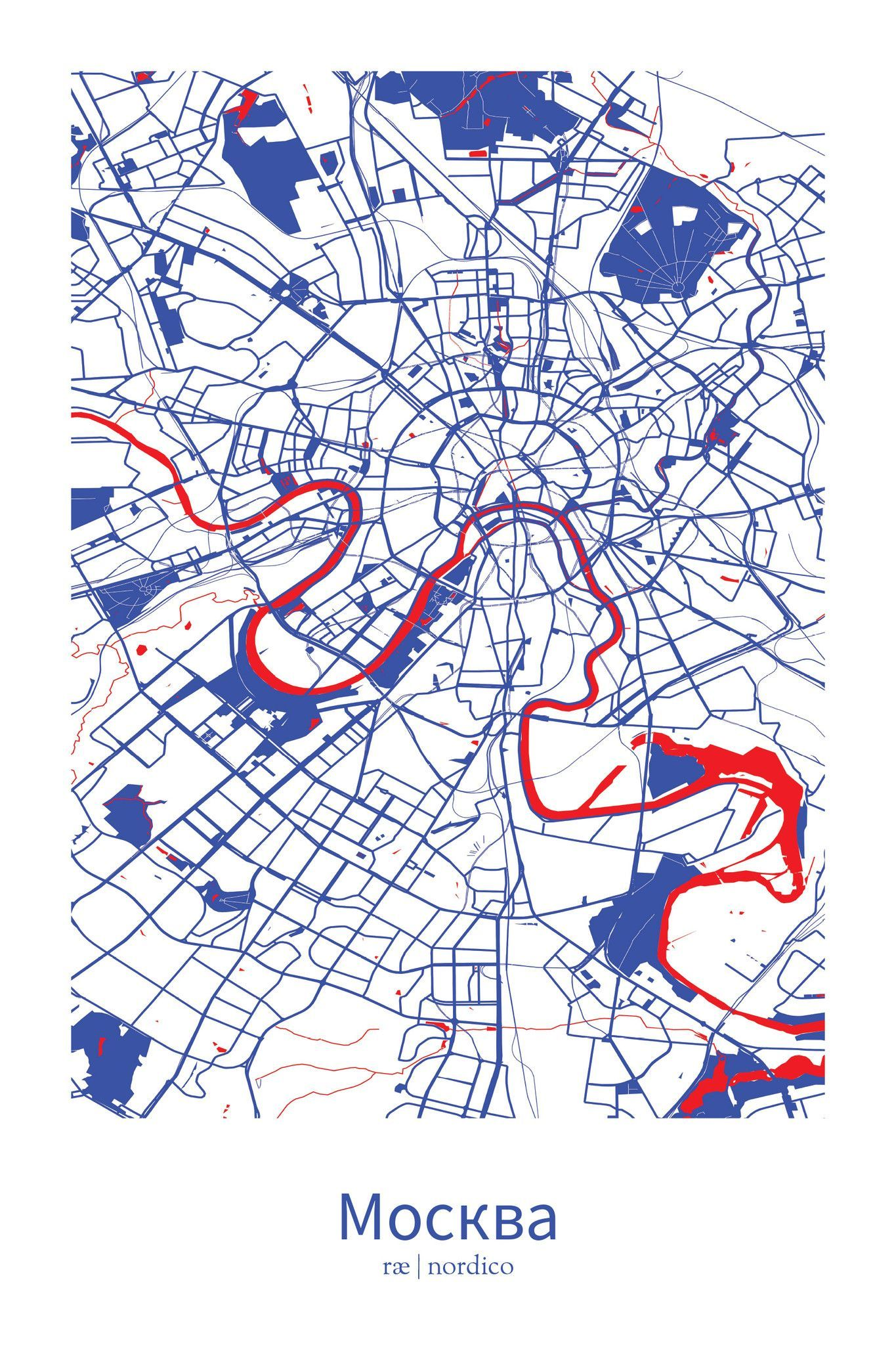 Moscow, Russia Map Print   City Maps   Pinterest   Moscow russia ...