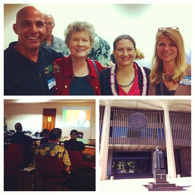 """Director/ producer Linda Booker showed her movie """"Bringing it Home"""" at the State Capitol in Honolulu. Vincent Mina (president of @hawaiifarmersunionunited) Rep Cynthia Thielen, &  State Ag Rep Jessica Wooley also attended. Linda is at the right :) things are looking good for HEMP in Hawaii!! #HempisHope #Jan2014"""