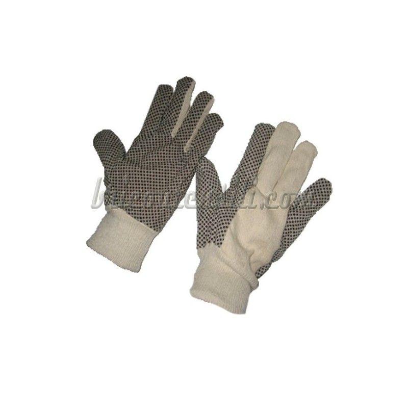 Guanti Giardino Puntinati Neri Guanto in Tessuto di cotone beige con palmo  puntinato in PVC nero 9f67ce726971